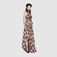 Gucci Embroidered wool tartan gown
