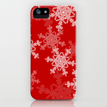 Red snowflakes iPhone & iPod Case by Silvianna