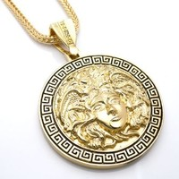 """Chris Brown's Hip-Hop Bling Medusa Head Gold Tone 2 Chainz Pendant with Free 36"""" chain (2)"""