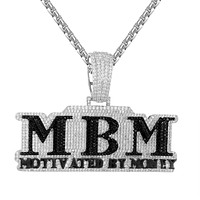 Black Motivated by Money White Bling Hip Hop Pendant