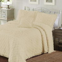 King size Reed Yellow Chenille Bedspread in 100-percent Cotton with Fringe Edge