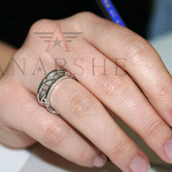 Message dna ring, sterling silver dna ring, your message engraved on dna ring both sides, molecule biology dna ring, text dna ring