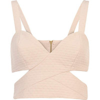 Pink jacquard cut out strappy bralet