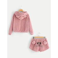 SHEIN Cartoon Print Letter Teddy Coat & Shorts Set