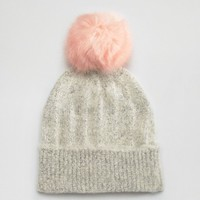 ASOS Fluffy Gray Beanie With Pink Faux Fur Pom at asos.com