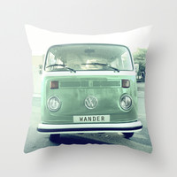 Vintage Wander wolkswagen. Summer dreams. Green Throw Pillow by Guido Montañés