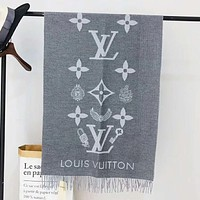 Supergirls22 LV Louis Vuitton Women Autumn And Winter New Fashion Monogram Letter Print Warm Scarf  Gray