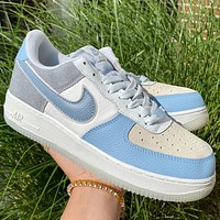 """Nike Air Force 1 07 LV8 2 """"Blue White"""" low-top sneakers shoes"""