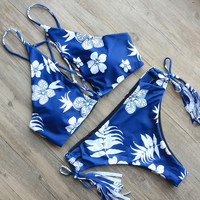 Floral Printed Swimwear Women High Neck Bikini Set  Swimsuit