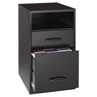 Black 2-Drawer Storage Shelf Organizer with File Cabinet