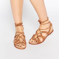 River Island | River Island Brown Plaited Sandals at ASOS