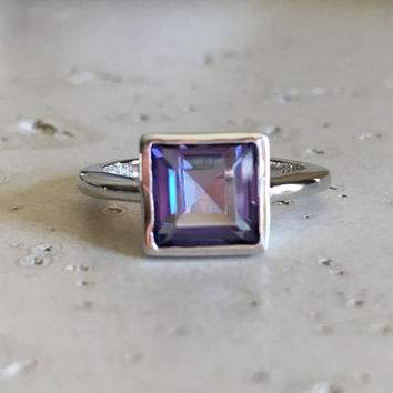 Emerald Cut Topaz Ring- Mystic Topaz Ring- Square Ring- Stacking Ring- Unique Ring- Sterling Silver Ring- Rings for Her- Gifts Ideas