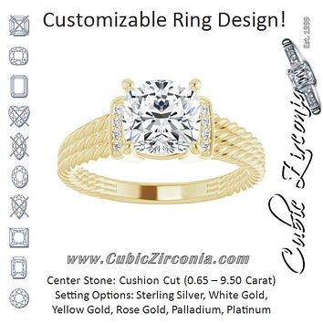 Cubic Zirconia Engagement Ring- The Junio (Customizable 11-stone Design featuring Cushion Cut Center, Vertical Round-Channel Accents & Wide Triple-Rope Band)