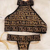Onewel Versace Medusa Fashion Women Two Piece Bikini underwear Black Gold Top Tank
