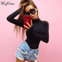 VONWZ7 Hugcitar cotton long sleeve high neck skinny bodysuit 2017 autumn winter women black gray solid sexy body suit