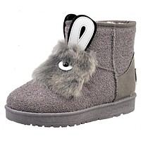 Rabbit Face Suede Ankle Snow Booties