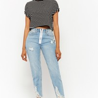 Striped Raw-Cut Cropped Tee
