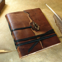 Large Brown Leather Journal, Handmade Notebook,  Vintage Style Cover, One of a Kind -  Thoughts of Fall