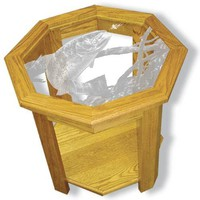 """""""Swim Meet Trout"""" Fishing Etched Glass Art End Tables"""