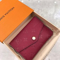 Kuyou Gb1986 Louis Vuitton Lv M61247 Monogram Shadow Rose Red Compact Wallet Key & Card Holders Coin Card Holder 9x13cm