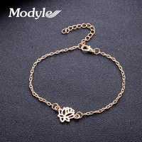 Modyle Special Lotus Meditation Charm Chain Foot Vintage Beach Silver Color Pendant Anklet Bracelet Anklets For Women Jewelry