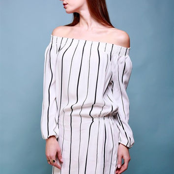 Long Sleeve Striped Off the Shoulder Nipped Waist Dress - White/Navy