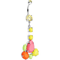 Yellow Gem Neon Jumble Dangle Belly Ring | Body Candy Body Jewelry