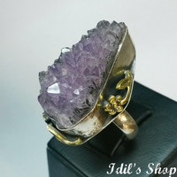 Authentic Turkish Ottoman Style Handmade 925 Sterling Silver Ring With Amethyst Stone.