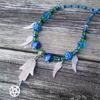 Hamsa Hand Necklace, Blue Green Beaded Necklace, Pentagram Necklace, Charm Necklace, Gypsy Jewelry, Boho Shaman Larp, Wiccan Pagan Jewelry