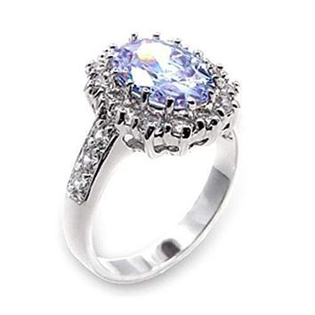 Cute Rings 6X114 Rhodium Brass Ring with AAA Grade CZ