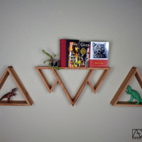 SINGLE Three Mountains Shelf, Triangle Shelf, Geometric Shelf, Bathroom Shelf, Book shelf, Reclaimed Wood Furniture, Triangle Shelves