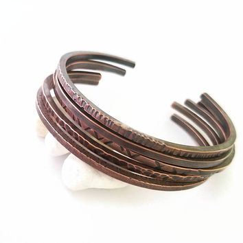 Set of Copper Bracelets - Hammered Cuffs - Unisex Jewelry - Thin Bracelets