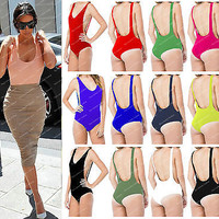 Womens Scoop Neck Ladies Backless Cut Out Bodysuit Party Leotard Dipped Back Top