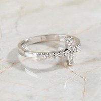 Sterling Silver Crystal Cross Ring