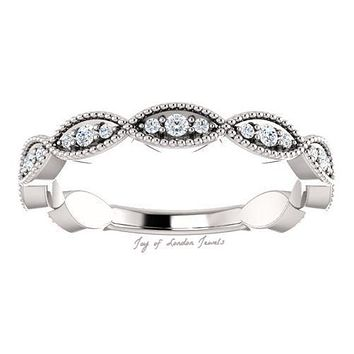 14K White Gold Natural Mined Diamond Stacking Wedding Band