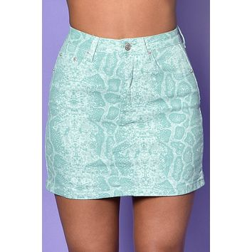 Jawbreaker Snakeskin Denim Mini Skirt - Mint