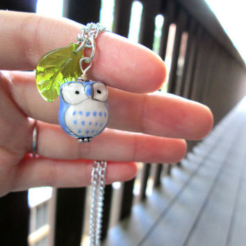 Blue Owl Necklace with Leaf Charm, Bird Jewelry, Ceramic Animal Pendant, Woodland Creature, Bohemian Fashion