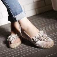 Women Rhinestone Flat Shoes  Pearl  for ladies luxury