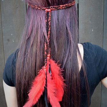 Red Feather Headband #B1010