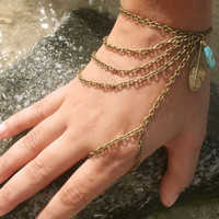 Slave Bracelet Hand Bracelet Hipster Bronze Chain Bohemian Feather Leaf Charm Turquoise Bead  Finger Hand Jewelry Piece