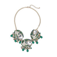 Three Faceted Stones & Beads Statement Necklace with Earrings