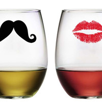 Kiss and Mustache Stemless Wine Glasses