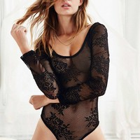 Black Lace Scoop Neck Bodysuit - Urban Outfitters