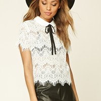 Eyelash Lace Tie-Neck Blouse