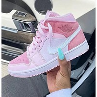 Air Jordan 1 Mid Digital Pink AJ1 Goddess Cherry Pink Basketball Shoes