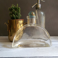 Vintage Glass Decanter/ Vintage Decanter with Glass Ball Top/ Whiskey Decanter/ Vintage Bar Ware/ Unique Decanter