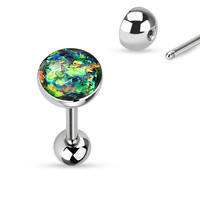 Tongue Ring Opal Sparkle Green 14ga Surgical Steel Body Jewelry