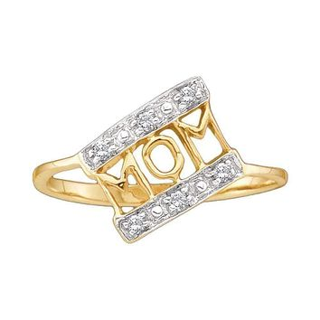 14kt Yellow Gold Women's Round Diamond Mom Mother Accent Ring 1/20 Cttw - FREE Shipping (US/CAN)