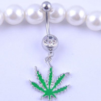 Sunshinesmile Belly Button Ring Dangle Barbell Pot Leaf Dangle Retainer Body Piercing