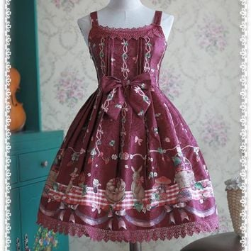 Sweet Daily Casual Lolita Dress Picnic Bunny Printed Short JSK Dress by Infanta